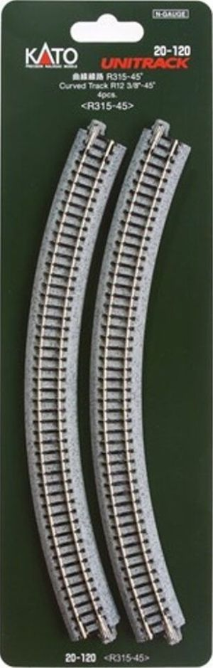 Kato N UniTrack 315mm 12 3/8″ Radius 45º Curve Track (4 pcs) 20-120