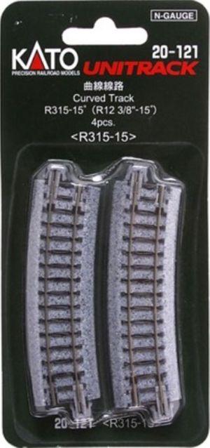 Kato N UniTrack 315mm 12 3/8″ Radius 15º Curve Track (4 pcs) 20-121