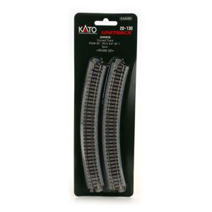 Kato N UniTrack 348mm 13 3/4″ Radius 30º Curve Track (4 pcs) 20-130