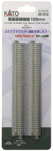 Kato N UniTrack 186mm 7 5/16″ Concrete Tie Straight Track WS186PC (2 pcs) 20-012