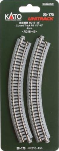 Kato N UniTrack 216mm 8 9/16″ Radius 45º Curve Track (4 pcs) 20-170