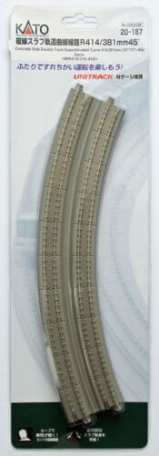Kato N UniTrack 414/381mm 19 & 15″ Radius 45º Double Curve Concrete Slab Track (2 pcs) 20-187