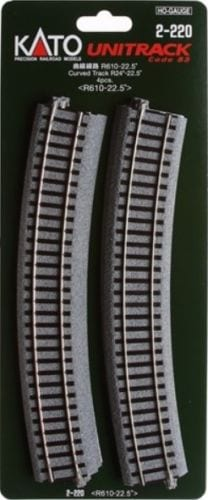 Kato HO UniTrack 610mm 24 Inch (22.5) Radius Curved Track 4 pcs 2-220