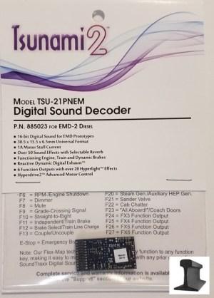 Soundtraxx Tsunami 2 ~ TSU-21 Pin NEM EMD-2 Diesel Sound Decoder ~ 885023