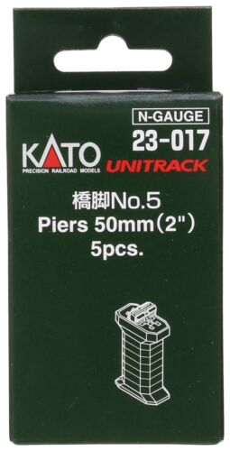 Kato N Scale UniTrack 50mm (2″) Single Track Pier Set With S Joiner &  Clip (5 pcs) 23-017