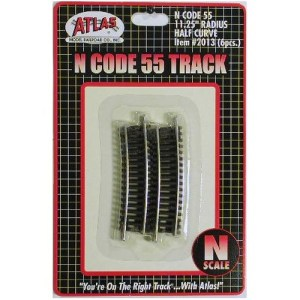 Atlas N Scale Code 55 Track 11.25″ Radius 1/2 Curve (6 Pieces) 2013