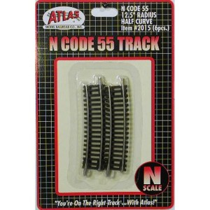 Atlas N Scale Code 55 Track 12.5″ Radius 1/2 Curve (6 Pieces) 2015