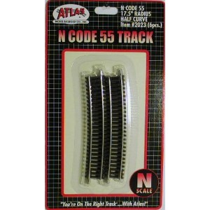 Atlas N Scale Code 55 Track 17.5″ Radius 1/2 Curve (6 Pieces) 2023