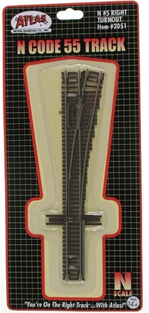 Atlas N Scale Code 55 Track #5 Right Hand Turnout 2051