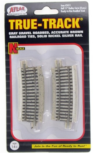 Atlas N Scale Code 65 True-Track Half 11″ Radius 22.5 Degree Curved (8 pcs) 2411