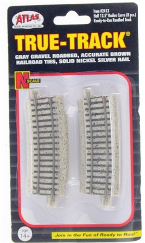 Atlas N Scale Code 65 True-Track Half 12.5″ Radius 22.5 Degree Curved (8 pcs) 2413