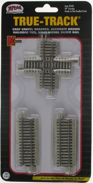 Atlas N Scale Code 65 True-Track 90 Degree Crossing 2420