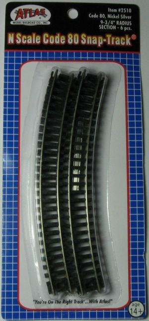 Atlas N Scale Code 80 9.75″ Radius Curved Track (6 pcs) 2510