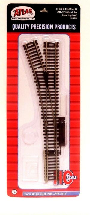 Atlas HO Code 83 Left Hand 22″ Manual Snap Switch Track 544