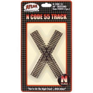 Atlas N Scale Code 55 Track 60 Degree Crossing 2044