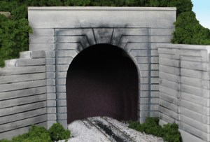 Monroe Models HO Tunnel Portal Groove Face Concrete Single Track 116