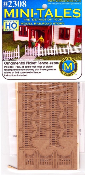 Monroe Models HO Mini-Tales Ornamental Picket Fence Laser Kit #2308