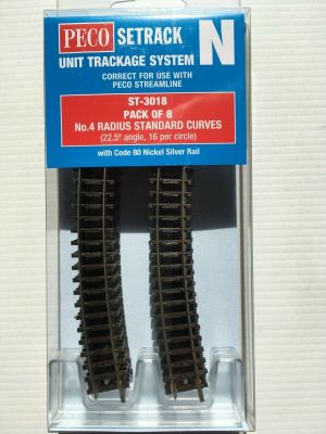 Peco N Scale Standard Curve Track ~ 8 Pcs ~ 4th Radius ~ Setrack ST-3018