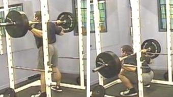 Deep squats in a squat cage