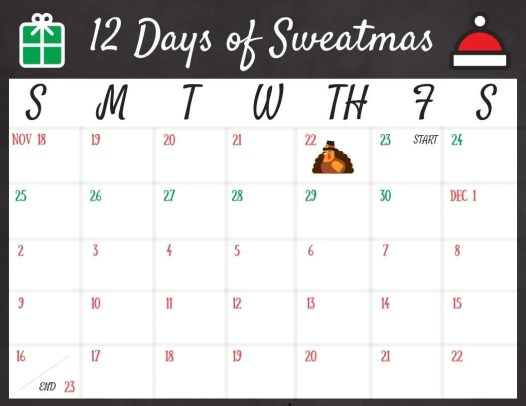 Join the free holiday fitness challenge and enjoy the 12 Days of Sweatmas challenge!