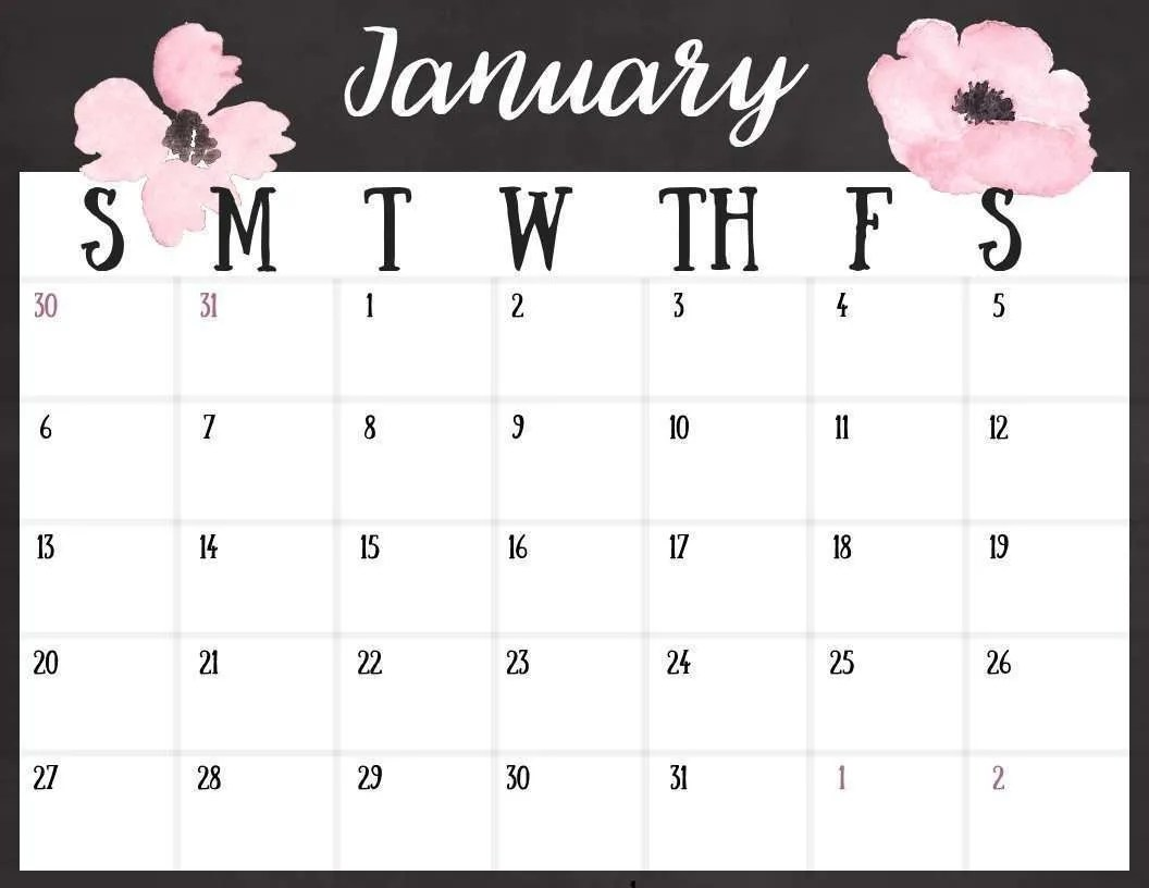 Free 2019 Calendar Printable Instant Download Ironwild Fitness