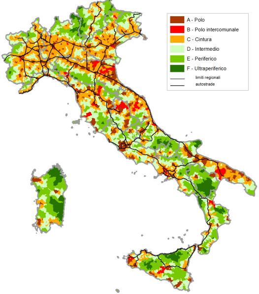 Aree Interne. Mappa dei comuni italiani secondo la classificazione in Poli e aree a diverso grado di perifericità rispetto ai poli di riferimento