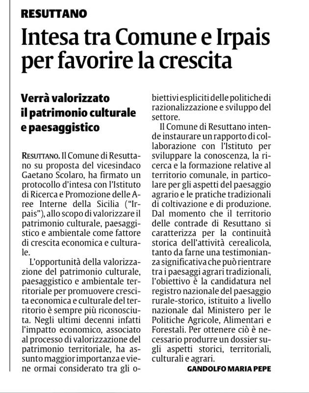 rassegna stampa maggio giugno 2017, irpais, aree interne sicilia