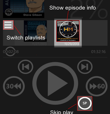 Capture d'écran d'application de podcast