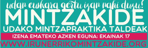 Udan ere euskaraz! udako MINTZAKIDE taldeak. Izen-ematea ekainak 24 arte