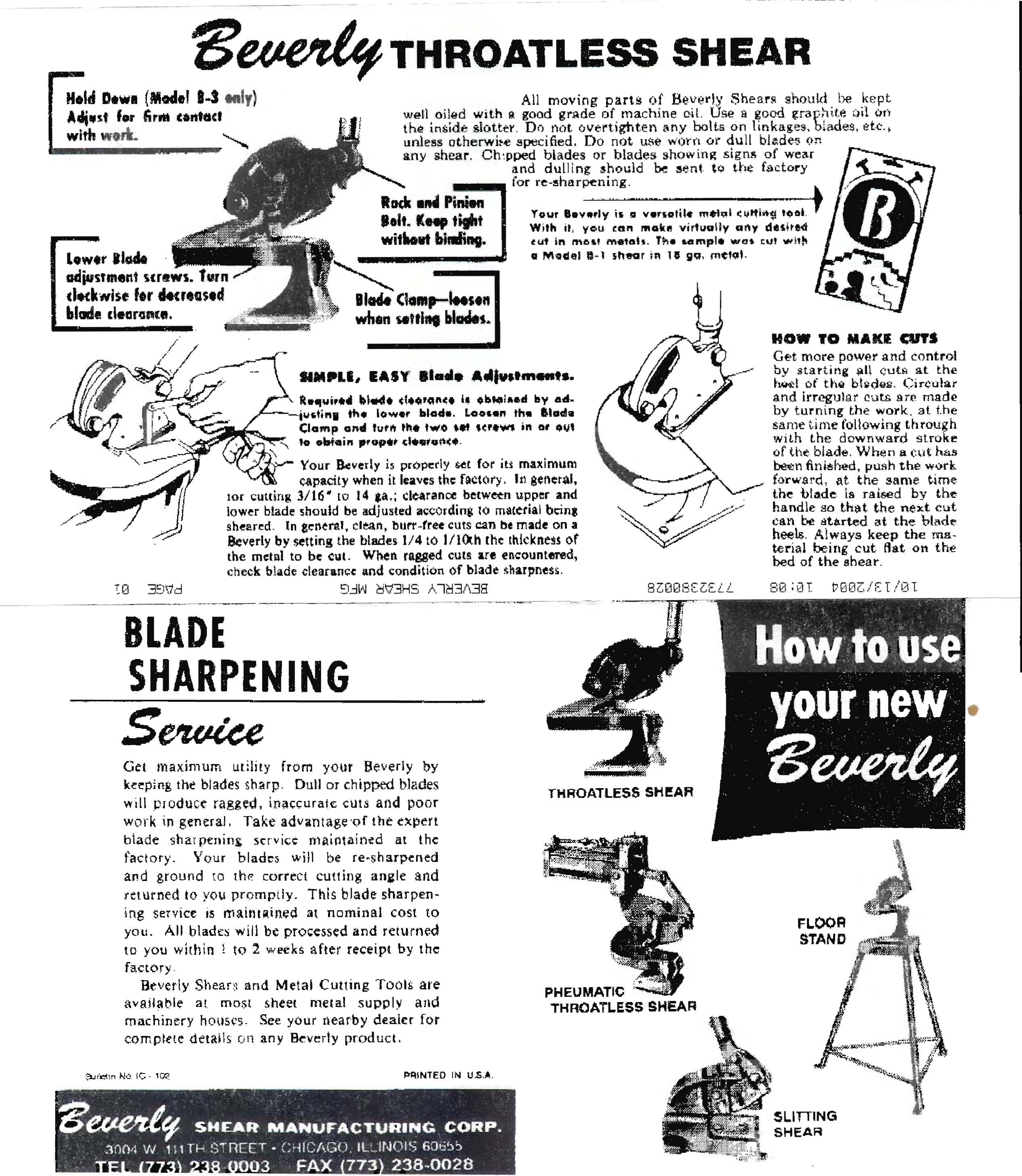 Model B 1 Beverly Shear B 1 14 Ga Cap Bev B 1 Sheet