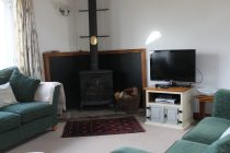 Wood burning stove in sitting area