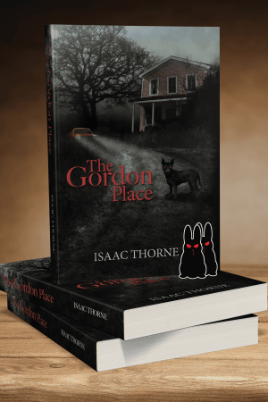 Three paperback copies of THE GORDON PLACE. Two are stacked on top of each other. A third sits atop the stack so that the front cover is visible. Two evil bunny stickers are propped against the vertical book.