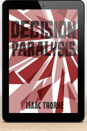 iPad featuring the DECISION PARALYSIS cover.