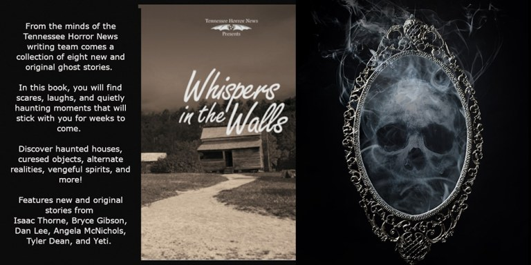 Whispers In The Walls book ad with skull peering out of mirror and book cover