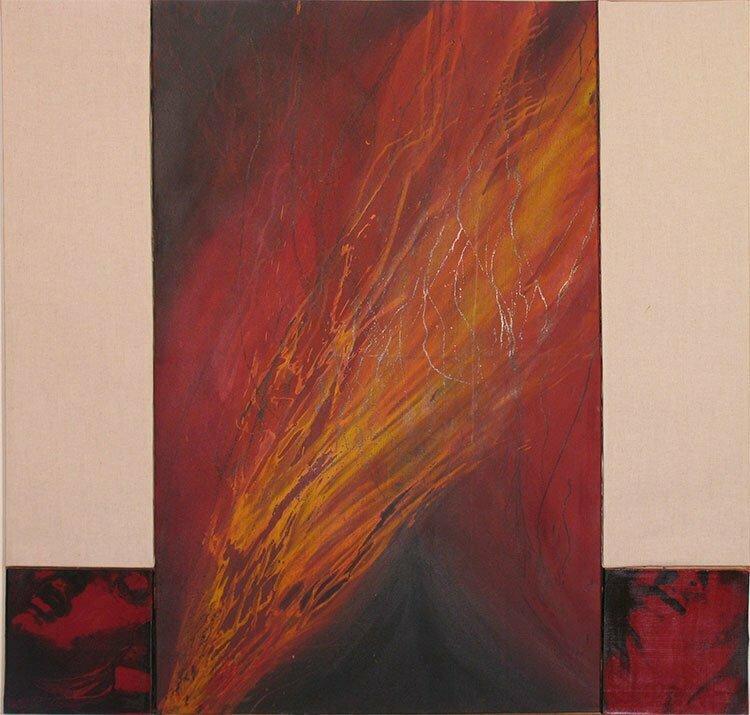 N°4 - Hommage à l'amour triomphant - 130x130cm - technique mixte - 2003 - 900 €.