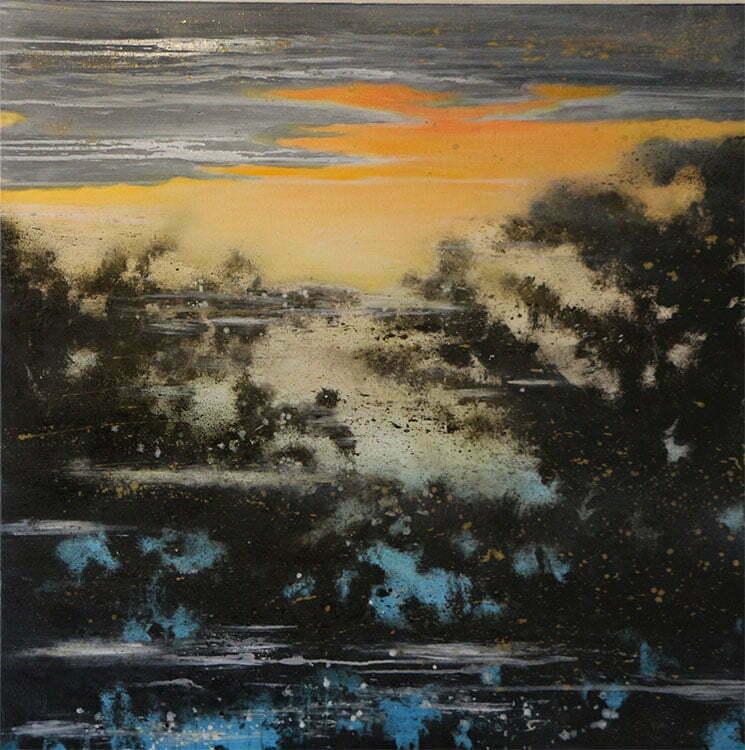 Reflets le soir (Velay) - N°11 - 100x100cm - huile sur toile - octobre 2014 - collection particulière.