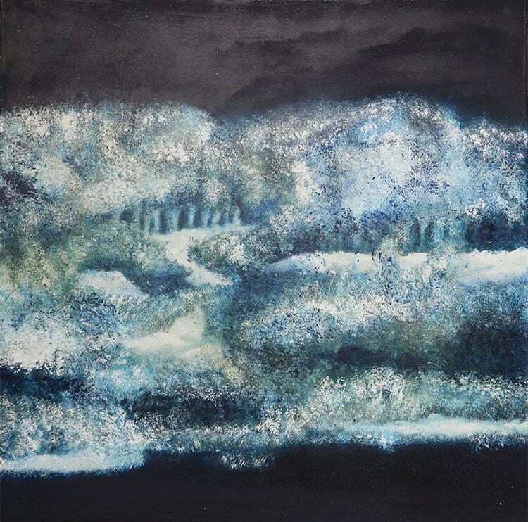 Nuit d'hiver (Bourgogne) - N°13 -100x100cm - huile sur toile - décembre 2014 - 800€.