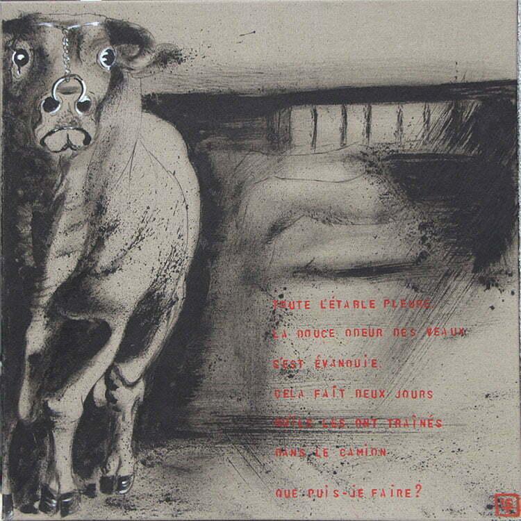 N°1 - 70X70 cm - dessin à l'encre de Chine sur toile, écriture acrylique - novembre 2013 - 700 €.