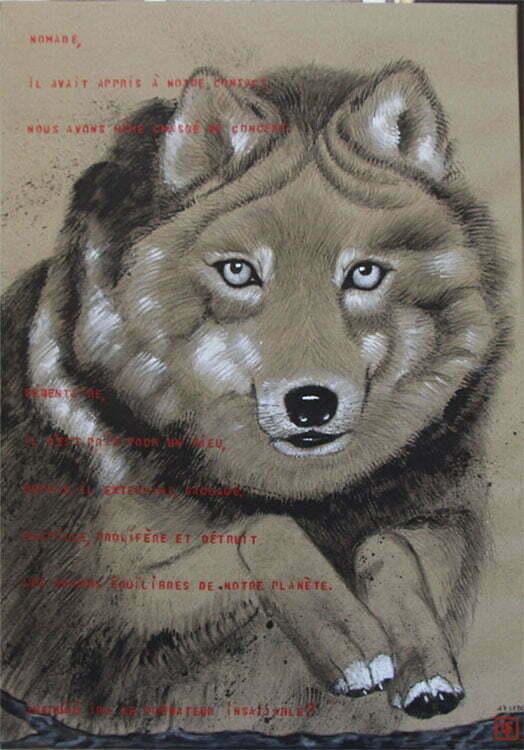 N°19 - 100x70cm - dessin encre de Chine sur toile, écriture acrylique - septembre 2015 - 750 €.