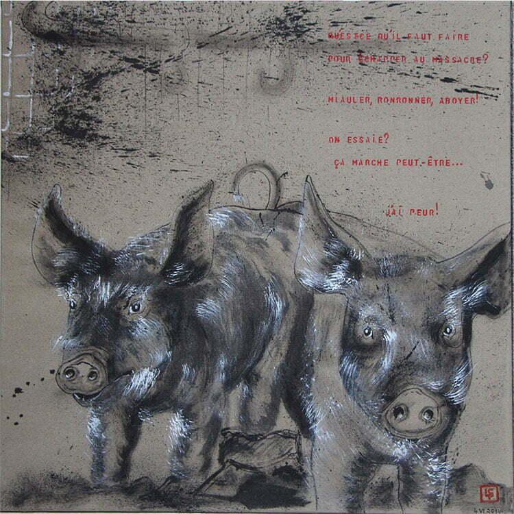 N°5 - 90x90cm - dessin à l'encre de Chine sur toile, écriture acrylique - juin 2014 - 750 €.