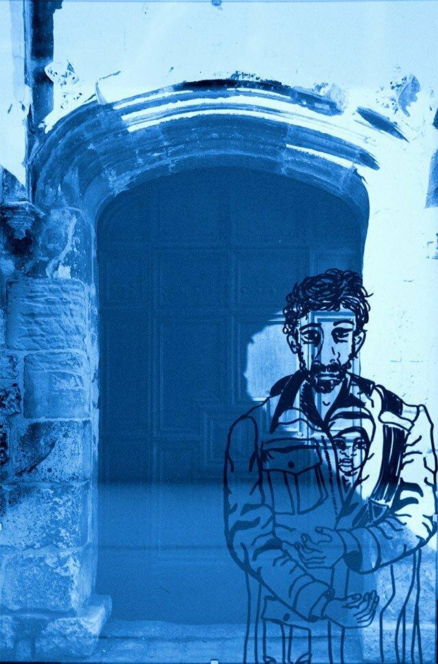 Sous-verre N°8 - technique : photo et dessin sur PVC - 30 X45 cm Prix : 50€.