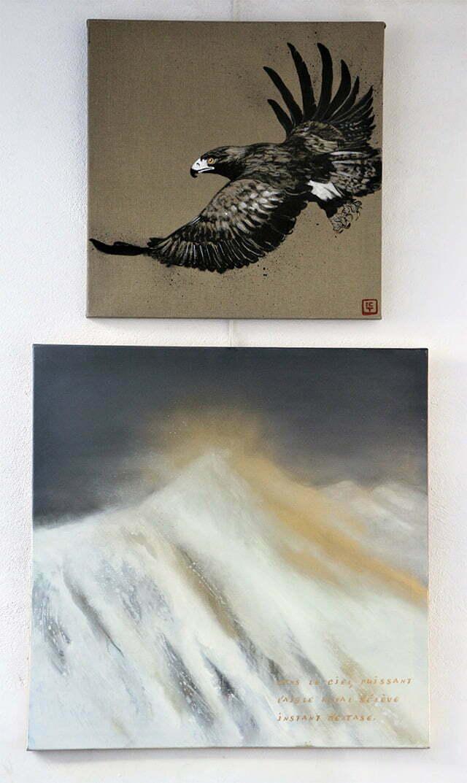 L'aigle royal : 150 X 80 cm, 24 juillet 2017. Huile et dessin à l'encre de Chine, sur toile, 1200 €.