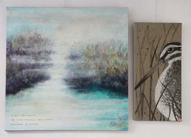 La Bécassine des marais : 100 X 148 cm, 22 février 2018. Huile sur toile et dessin à l'encre de Chine, acrylique et or sur toile, 1000 €.