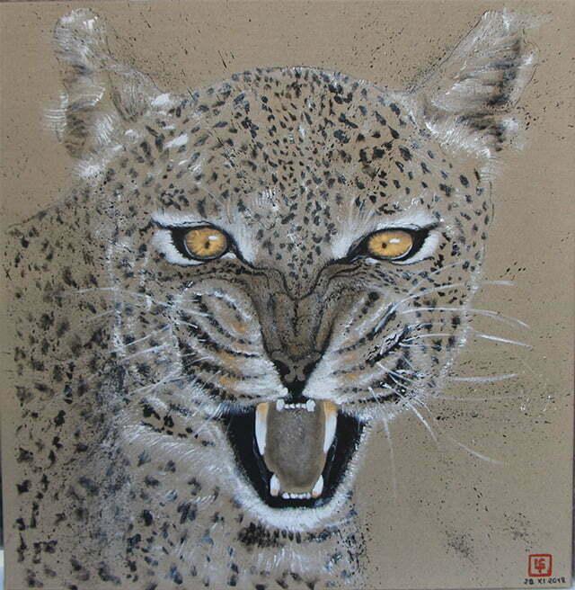 Dessin sur toile encre de chine, acrylique et or - Le léopard (géo) en voie de disparition. 29 novembre 2018 – 76,5 X 78 cm : 600€