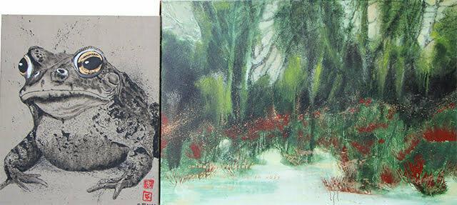 Le crapaud des zones humides 70 X 159 cm, 14 mars 2020. Huile et dessin à l'encre de Chine sur toile, 1100 €.