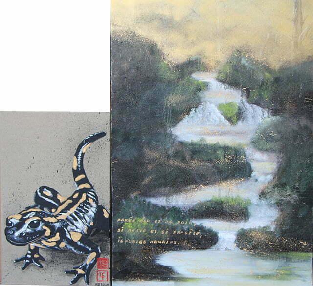 La salamandre de nos forêts, 100 X 113 cm, 3 mars 2020. Huile et dessin à l'encre de Chine, sur toile : 1100 €.
