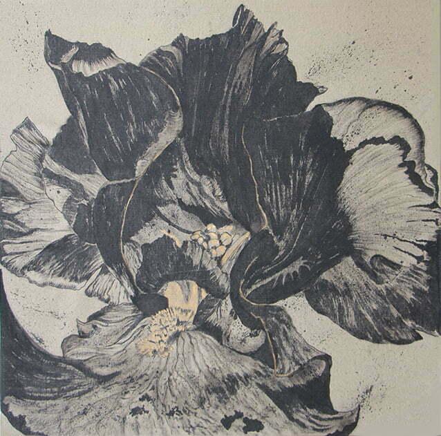 Petit dragon noir épanoui (iris) - 1 décembre 2020 - 100 x 100 cm  - encre de Chine  sur toile - 800 €.