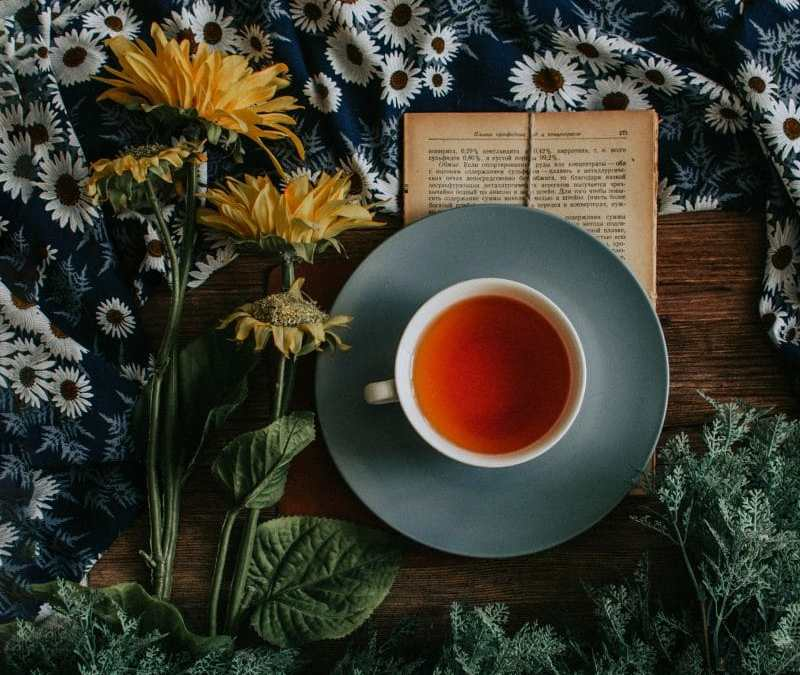 tasse de thé vert avec un livre