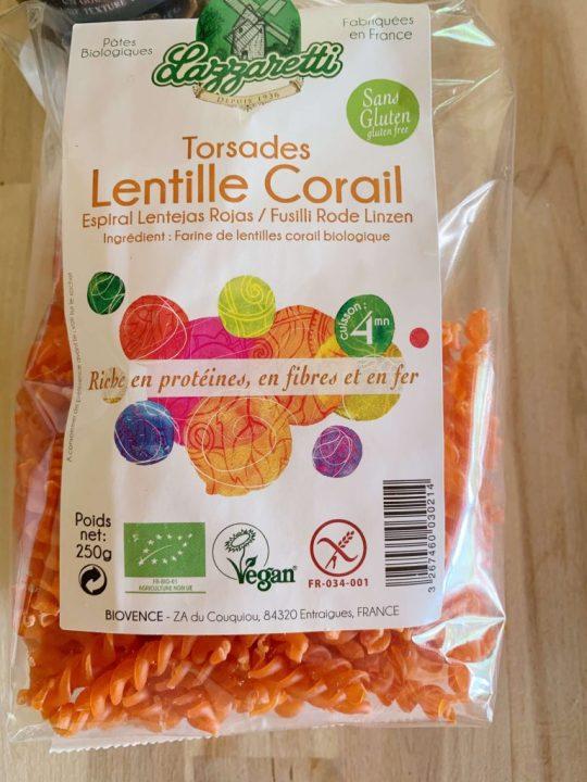 pâtes de lentilles corail