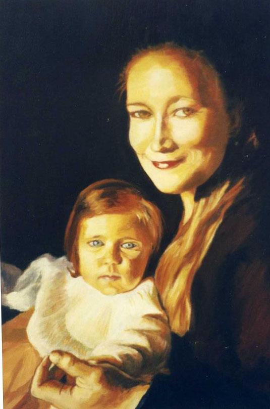 Autoportrait avec Aurélie huile sur bois